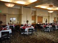 Banquet Room with Red and White Tableclothes