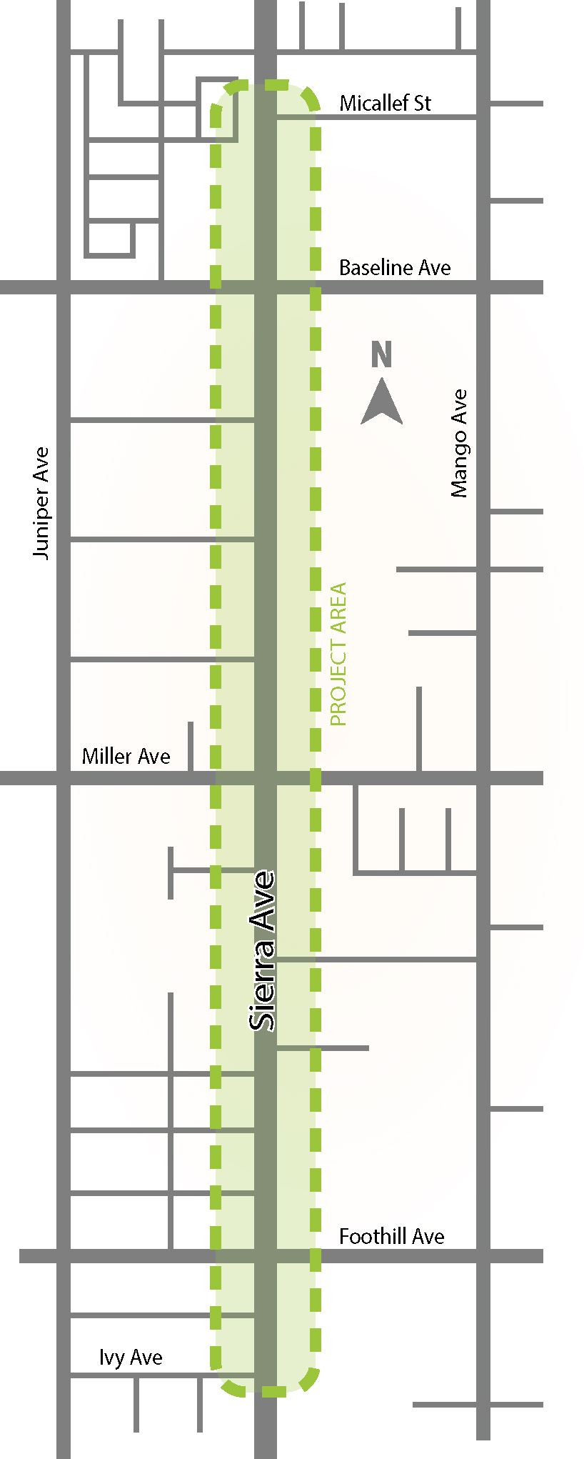 Sierra Avenue (Foothill Boulevard to Baseline Avenue) Street Improvement Project Area