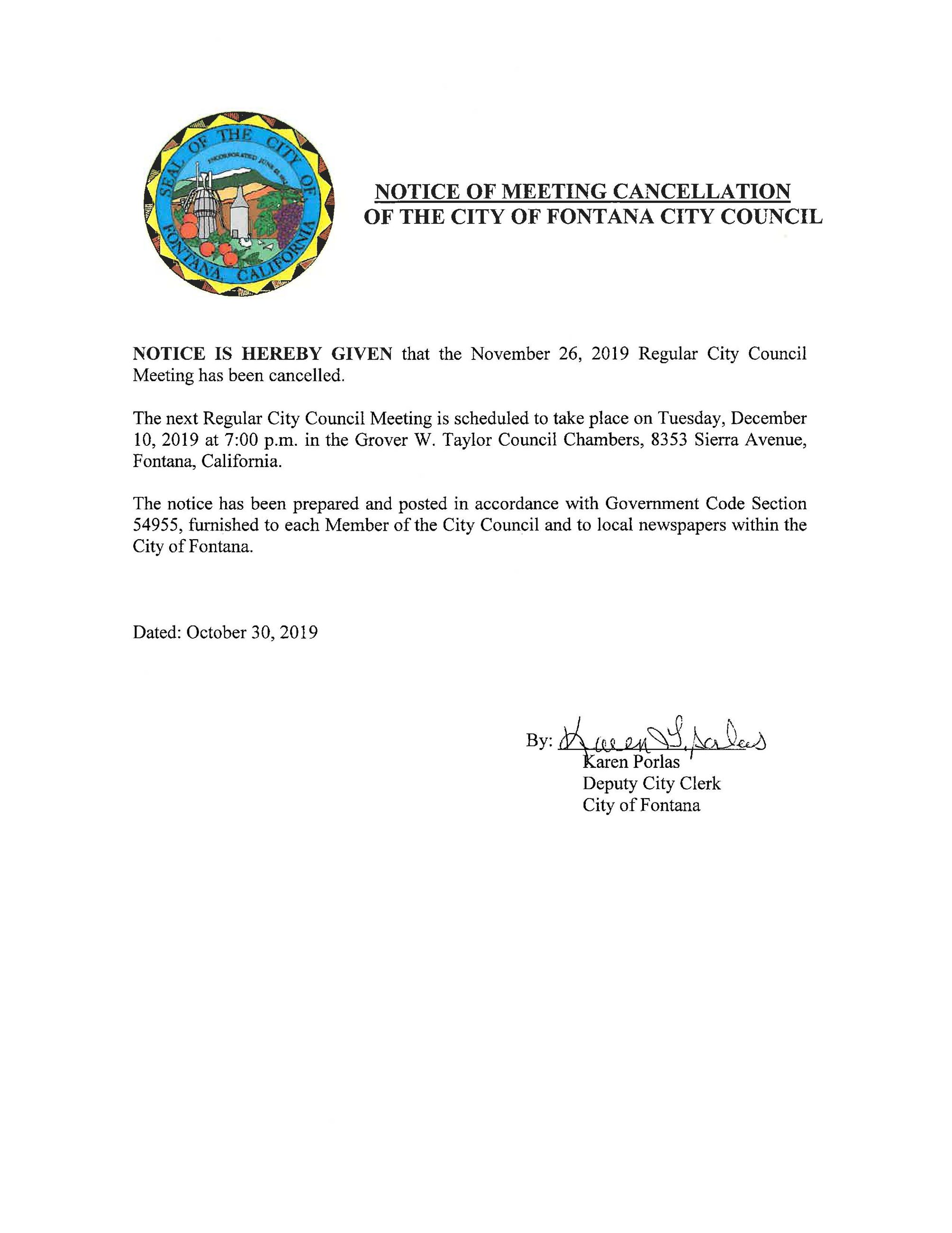 Notice of Cancellation - November 26, 2019