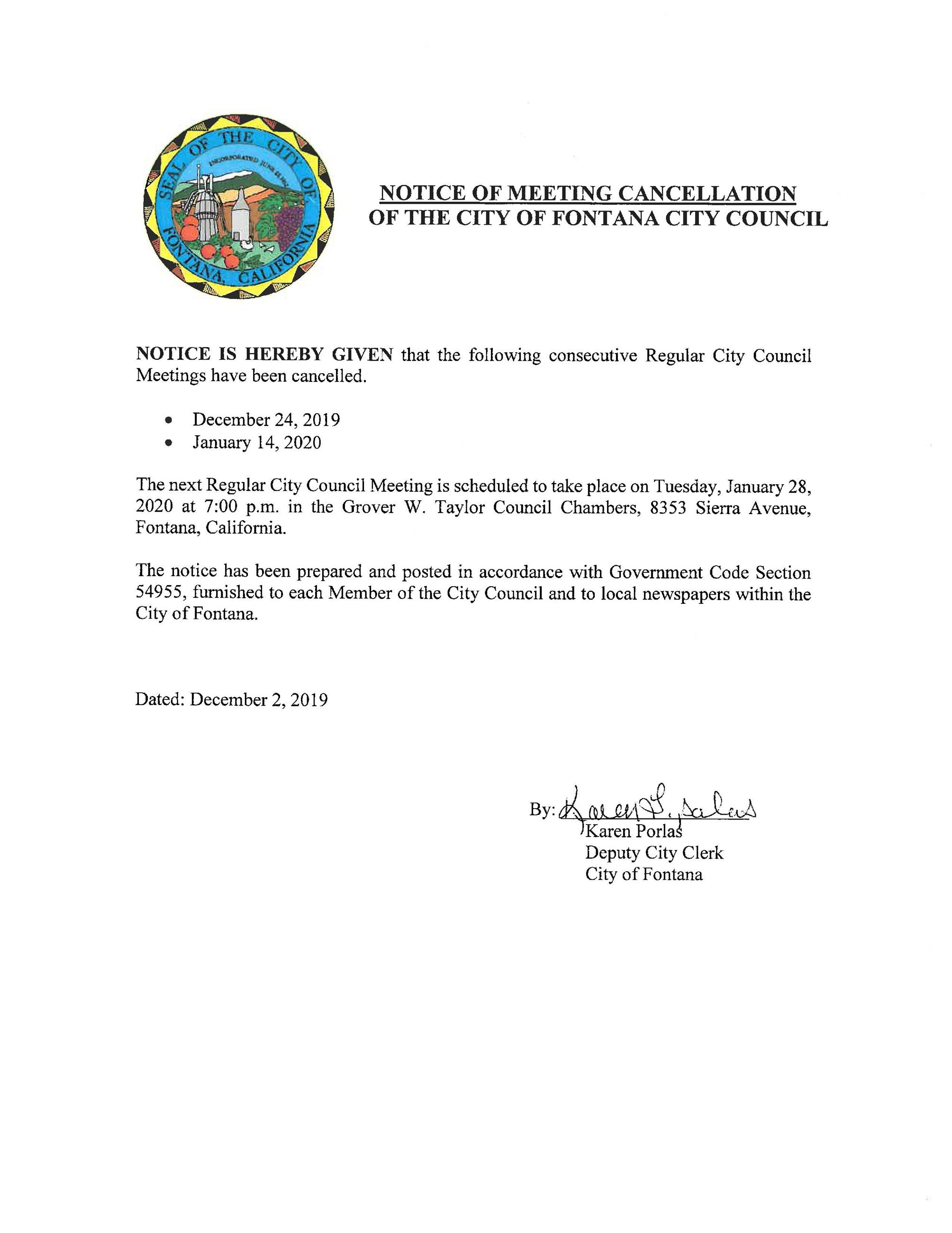 Notice of Cancellation - Dec 24 2019 and Jan 14 2020