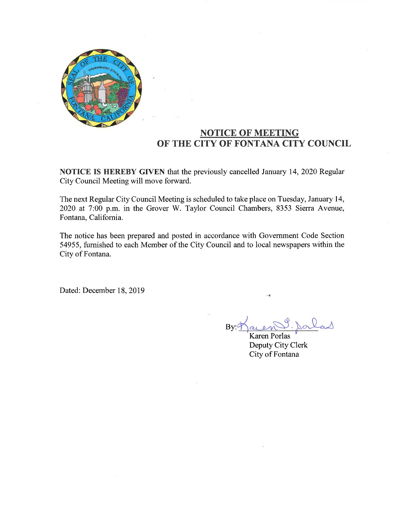 City Council Meeting January 14