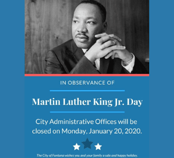 Martin Luther King Jr. Day Holiday Closure