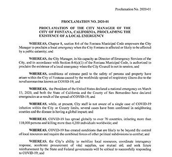 COVID-19 Proclamation and Resolution
