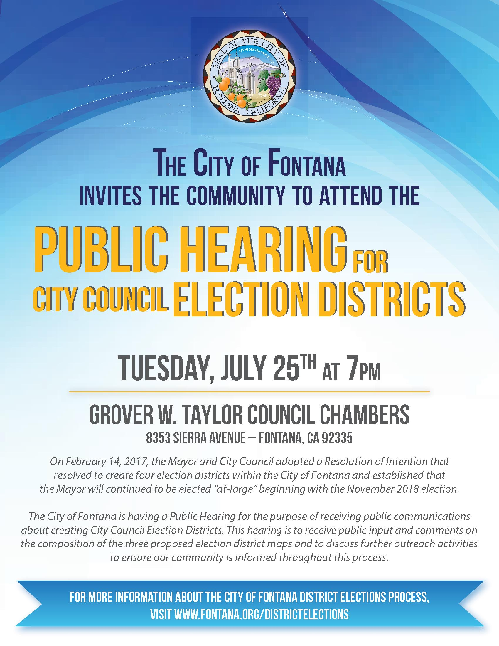 Public Hearing Election Districts