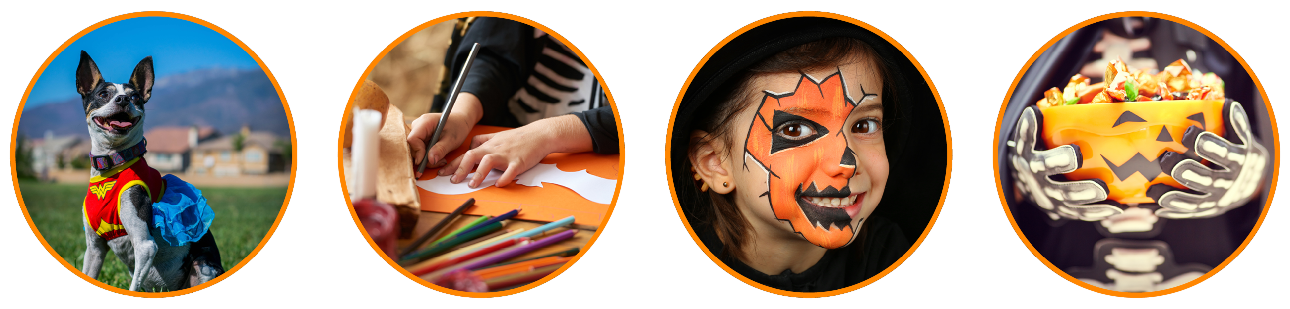 Web banner with four Halloween images