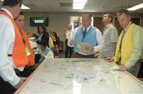 Employees mapping out possible hazards